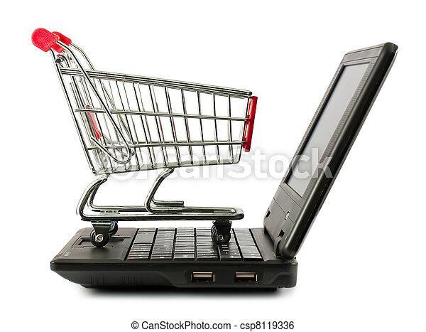 sur, achats, ordinateur portable, charrette - csp8119336