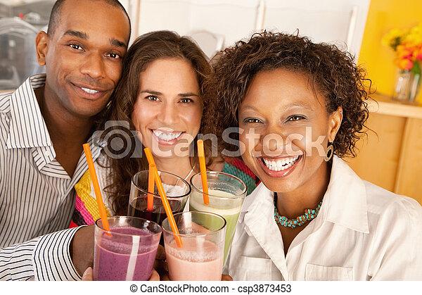sur, amis, smoothies, socialiser - csp3873453