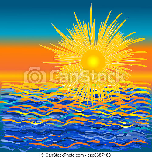 Sur coucher soleil mer graphique fond sur stylis - Coucher de soleil dessin ...
