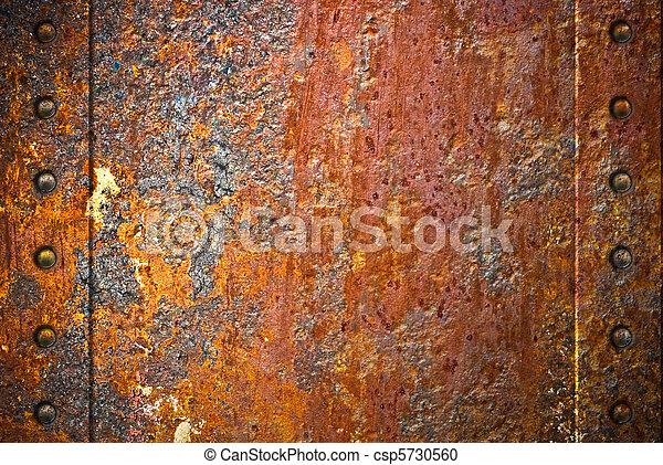 sur, déchiré, métal, texture, rouillé, fond, rivets, rouges - csp5730560
