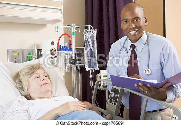 sur, docteur femme, notes, fabrication lit, personne agee, hôpital, mensonge - csp1705691