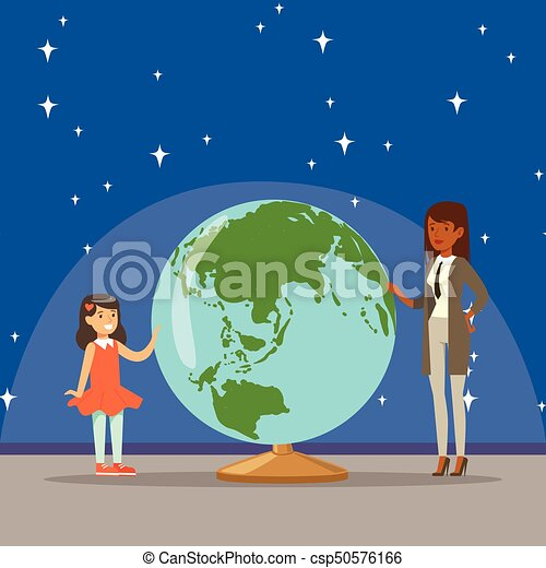 Sur Fille Elle Planète Planétarium Mère Dire La Terre