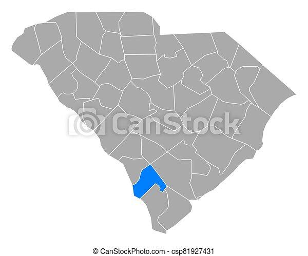 sur, mapa, hampton, carolina - csp81927431