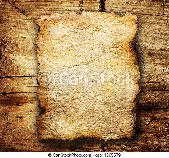 sur, papier, vieux, fond, bois, feuille - csp11365579