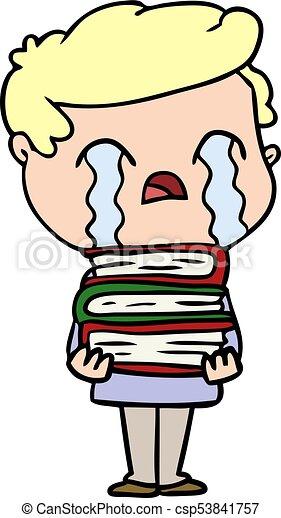 Sur Pile Livres Pleurer Dessin Anime Homme