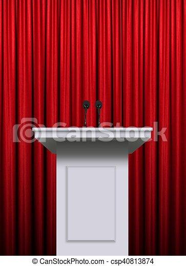 Sur, podium, fond, rideau, blanc rouge.