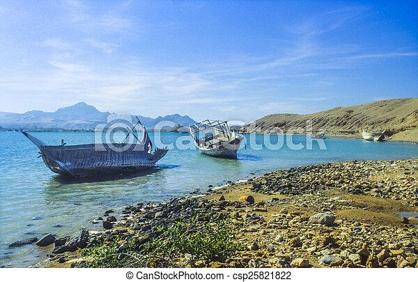 sur, podrido, dhau, barcos, árabe, playa, típico - csp25821822