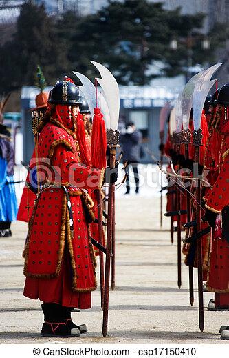 Evento cultural tradicional en Corea del Sur, Gwanghwamun, cambio de guardia - csp17150410