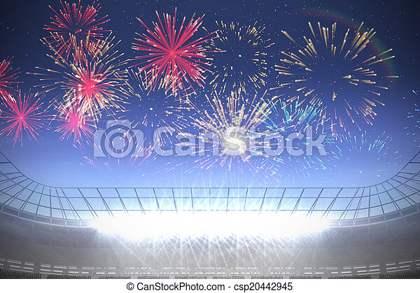 sur, stade, football, exploser, feux artifice - csp20442945