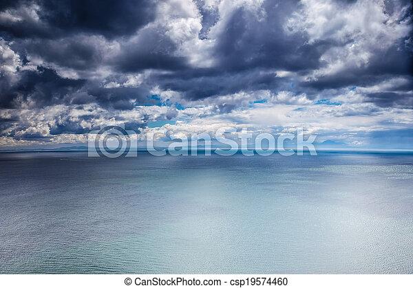 sur, temps, mer, couvert - csp19574460