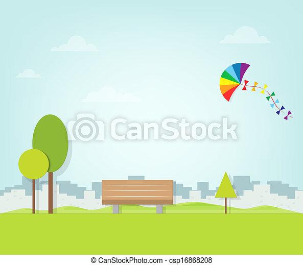 sur, voler, parc, cerf volant - csp16868208