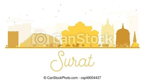 Surat City Skyline Golden Silhouette