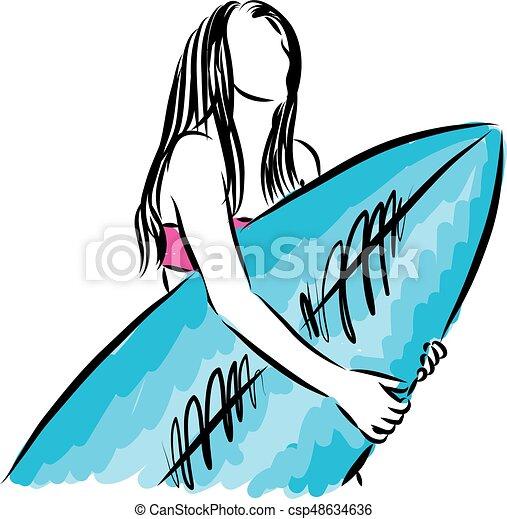 surf girl with surfboard vector illustration vectors search clip rh canstockphoto ca Summer Clip Art Baby Surfing Clip Art