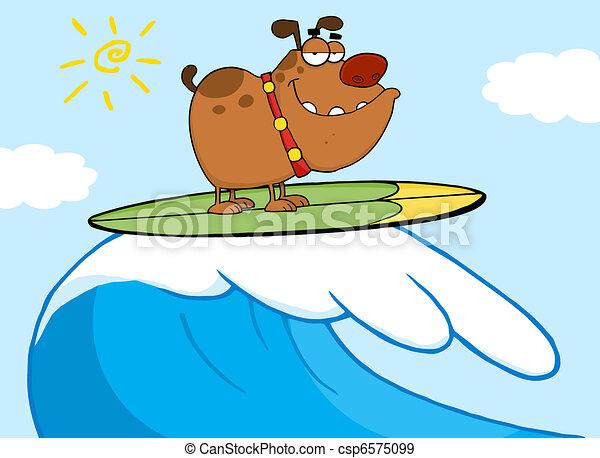 Feliz surf de perro - csp6575099