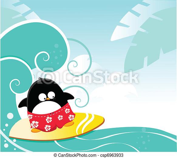 Pingüino surfista - csp6963933