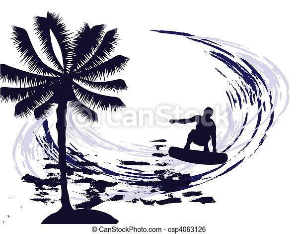 En verano, surfeando - csp4063126