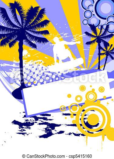 En verano, surfeando - csp5415160