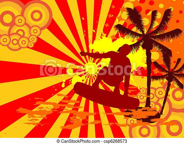En verano, surfeando - csp6268573