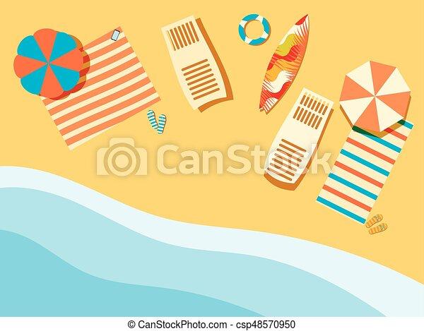 surfboard., 浜, 傘, とんぼ返り, イラスト, ラウンジ, above., flops., ベクトル, ベッドカバー, chaise, 海岸, waves., 光景 - csp48570950