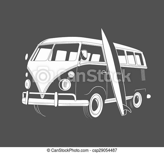Ícono de autobús retro con tabla de surf. Vista lateral. - csp29054487