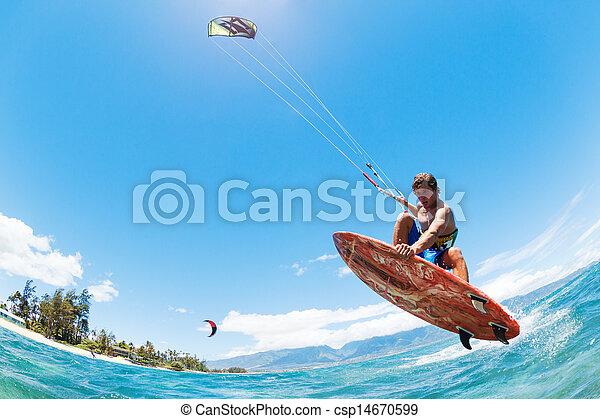surfen, papier drache - csp14670599