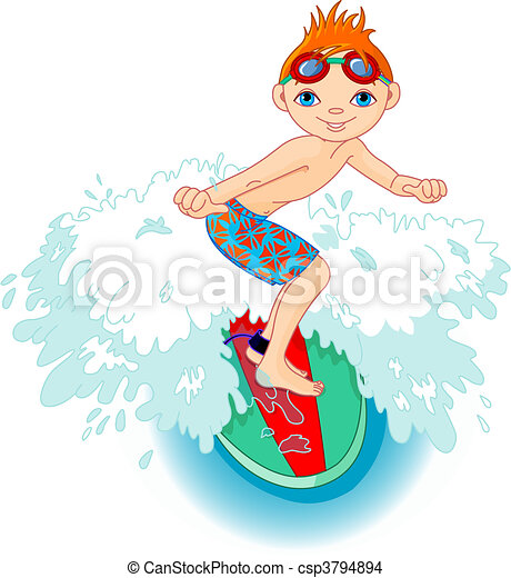 Surfer boy in Action - csp3794894