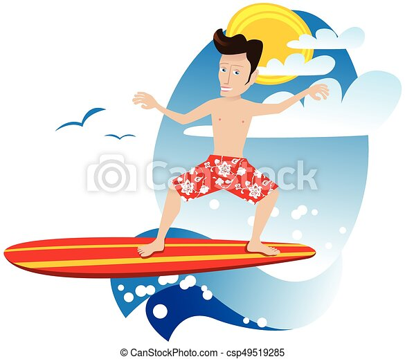 surfer dude eps a young man surfing a wave on vacation rh canstockphoto com