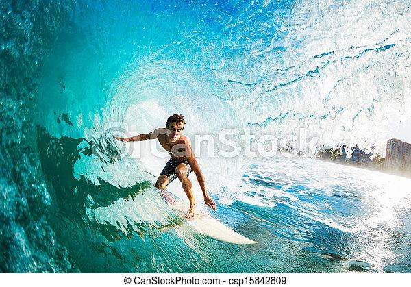 surfer, gettting, barreled - csp15842809