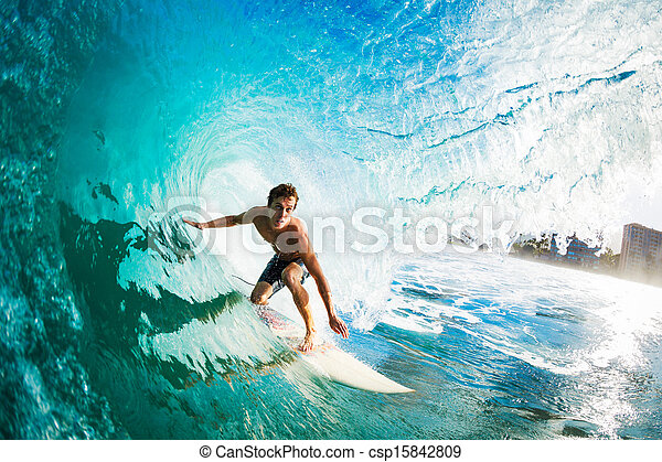 Surfer Gettting Barreled - csp15842809