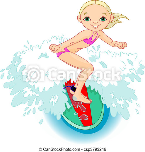 Surfer girl in Action - csp3793246