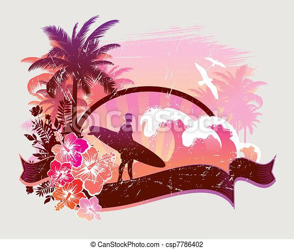 Surfer on a tropical beach - vector illustration - csp7786402