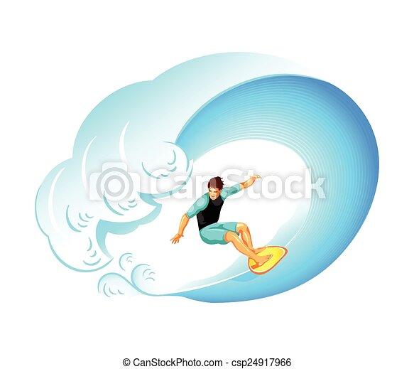 Surfer on big wave - csp24917966
