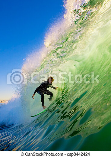 Surfer On Blue Ocean Wave - csp8442424