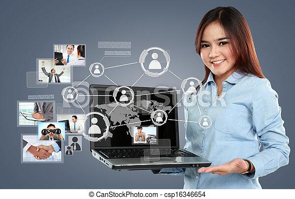 surfer, réseau, femme affaires, ordinateur portable, virtuel, pc, connexion, fond, social, tenue - csp16346654