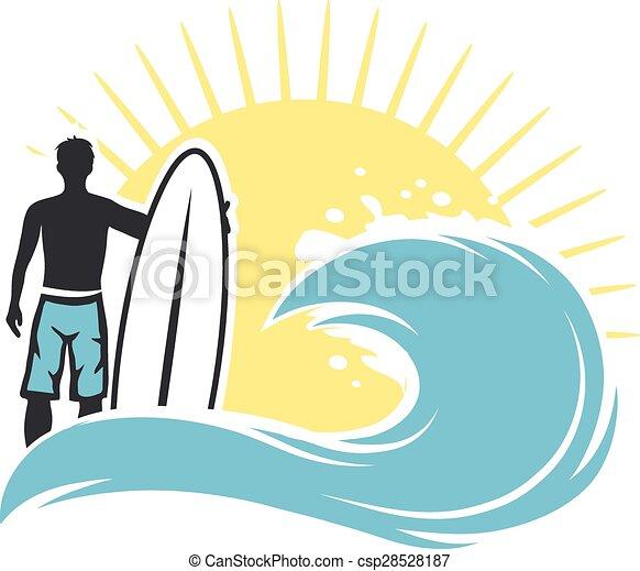 Surfer-Mann am Strand - csp28528187
