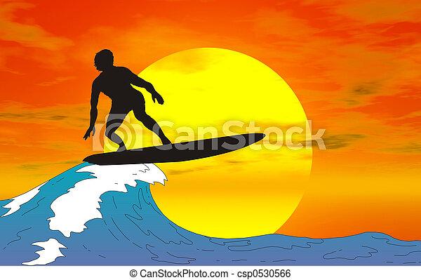 surfer silhouette - csp0530566