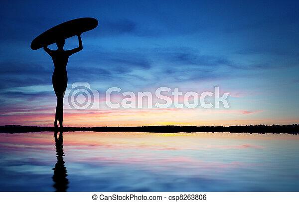 Surfer Silhouette - csp8263806