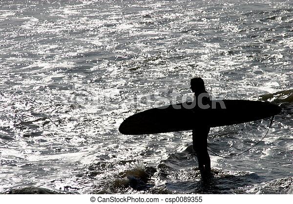 Surfer Silhouette - csp0089355