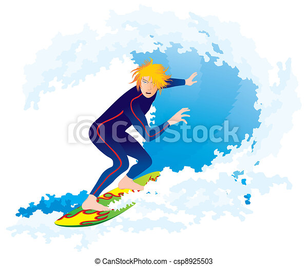 Vague grand blanc isol surfeur vecteurs search clip - Coloriage surfeur ...