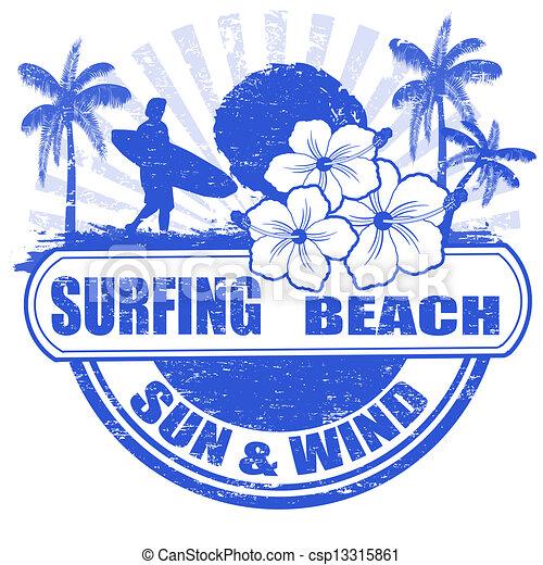 Surfing beach stamp - csp13315861