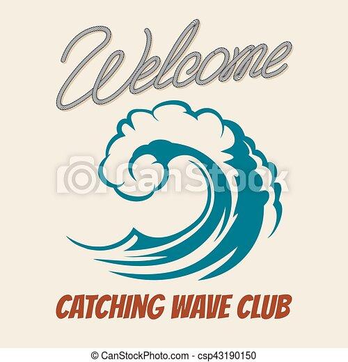 surfing club emblem with killer wave vector vintage surf poster sea rh canstockphoto com wave vector definition wave vector physics