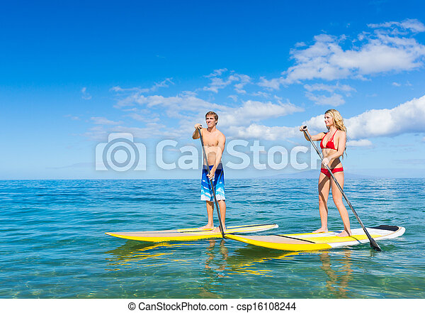 surfing, coppia, su, pagaia, hawai, stare in piedi - csp16108244