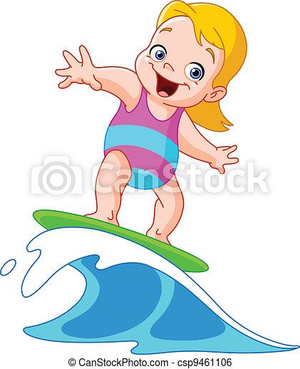Surfing girl - csp9461106