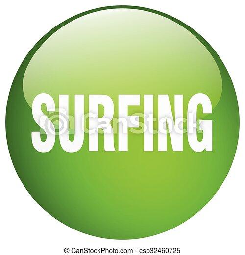 surfing green round gel isolated push button - csp32460725