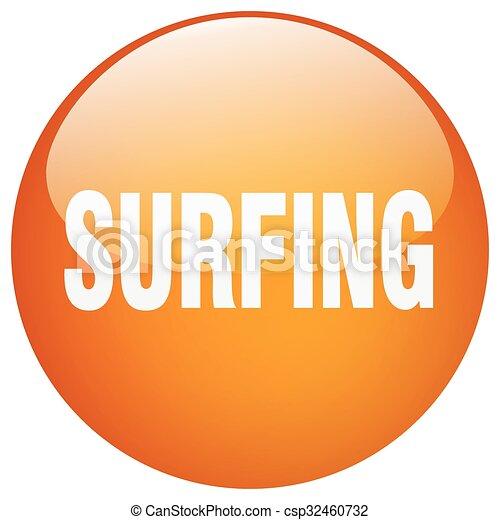 surfing orange round gel isolated push button - csp32460732
