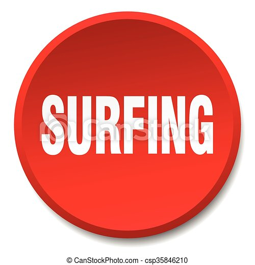 surfing red round flat isolated push button - csp35846210