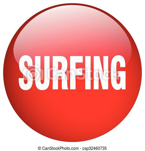surfing red round gel isolated push button - csp32460735