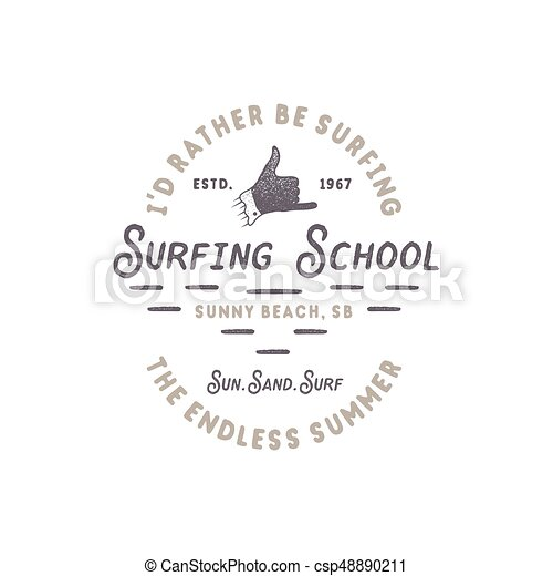 Surfing school vintage emblem. Retro logo design with shaka sign and typography elements. Stock vector isolated on white style background - csp48890211