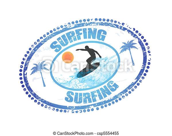 Surfing stamp - csp5554455