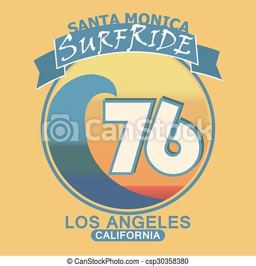 01d42c87 Surfing T-Shirt Graphic Design. Santa Monica California Surf Typ